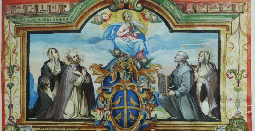 A. Gregori, La Madonna in gloria, santa Caterina da Siena, il beato Giovanni Colombini, san Bernardino, la beata Caterina Colombini, 1616,  (Concistoro, 2342, c. 9)