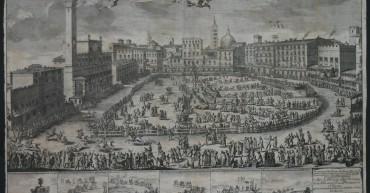 Prospetto della Piazza di Siena, stampa realizzata per la visita di Violante di Baviera, 1717. Corridoio