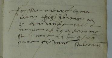 Notazione battesimo di Agostino Chigi (Pieve di San Giovanni Battista, 2, c. 69r, part.)