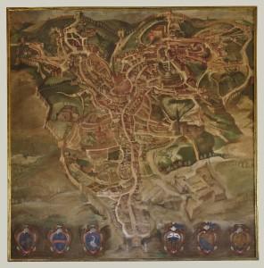 Rutilio Manetti (Siena 1571-1639). Pianta prospettica della città di Siena, 1609-1610. Tempera su tela con piccola cornice dorata, 223,5x222,5 cm. Quadreria dell'Archivio di Stato di Siena (Direzione), restauro del 1997